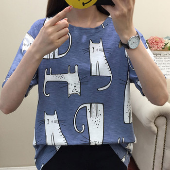 JAYCOSIN Sweet Women T-shirt Top Cute Cartoon Cat Print short-sleeved O-neck Fashion T Shirt Casual Clothing Summer Trend Blue