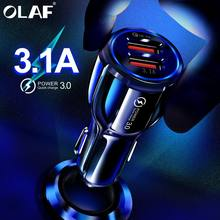 Olaf Mobil USB Charger Pengisian Cepat 3.0 2.0 Mobile Phone Charger 2 Port USB Cepat Charger Mobil untuk Iphone Samsung tablet Mobil Charger(China)