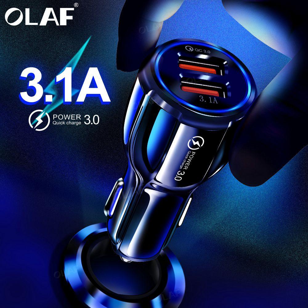 Olaf chargeur de voiture USB Charge rapide 3.0 2.0 chargeur de téléphone portable 2 ports USB chargeur de voiture rapide pour iPhone Samsung tablette chargeur de voiture