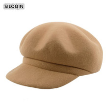 SILOQIN 100% Woolen Ladies Brand Beret Panama Autumn Winter Elegant Woman Warm Newsboy Cap New Thicken Simple Leisure Winter Hat kenmont new arrival brand winter hat 100