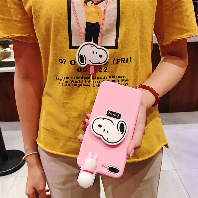 Image 3 - Creative cartoon cute Snoopy phone case for iPhone X XS XR XSMax 8 7 6 6S PluS doll pendant silicone drop protection cover-in Fitted Cases from Cellphones & Telecommunications