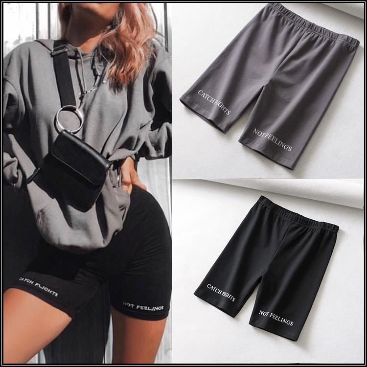 High Waist 2019 Fashionshorts women sexy biker Leggings fitness korean cotton black Athleisure Cycling Safety pants
