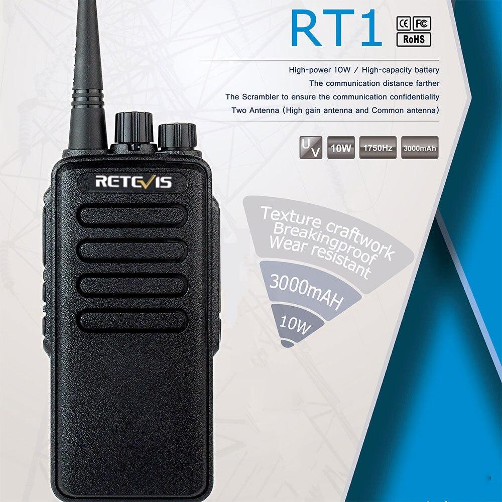 10W High Power Walkie Talkie Retevis RT1 VHF (or UHF) VOX 3000mAh Long Range Two Way Radio For Factory Warehouse Farm Emergency