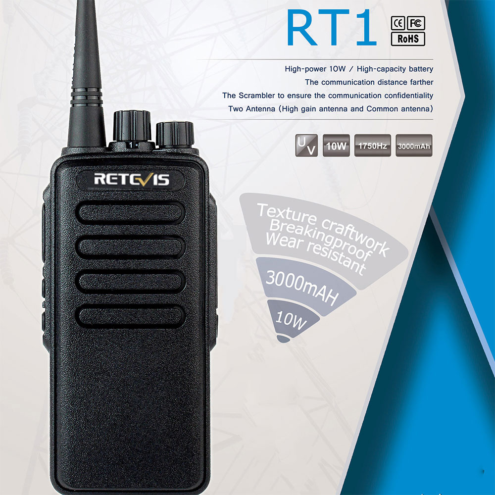 High Power Walkie Talkie Retevis RT1 VHF (or UHF) VOX 3000mAh Two Antenna Two Way Radio Walkie-Talkie For Factory Warehouse Farm