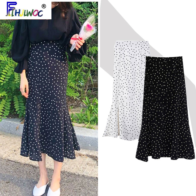 2020 Summer Skirt Long Hot Sales Women Black White Dot Preppy Style Girls Korean Design High Waist Black Skirt 3024