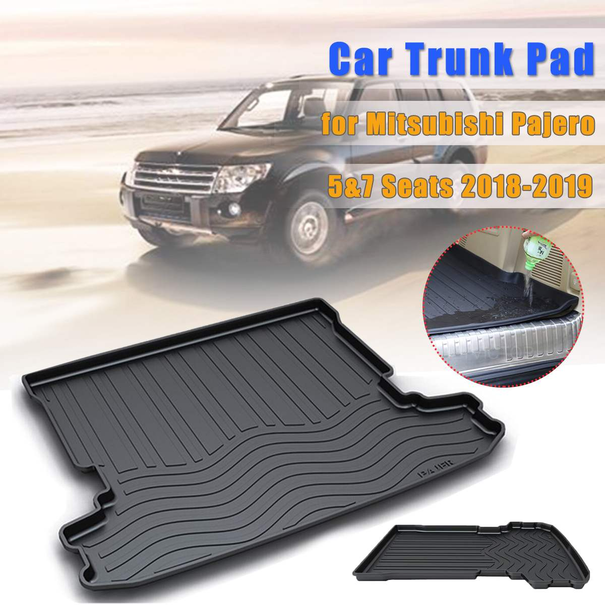 Car Cargo Liner Floor Mat Rear Trunk Mat for Mitsubishi Pajero 5 & 7 Seats 2006-2010 2011 2012 2013 2014 2015 2016 2017 2018 image