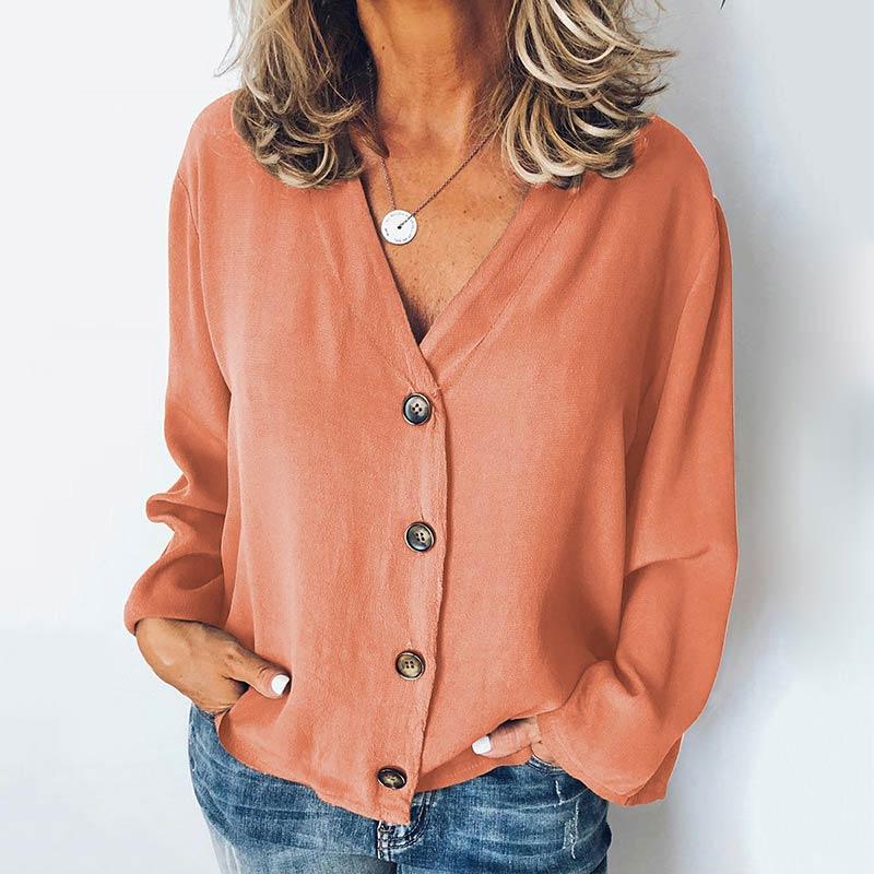 MISSJOY Women Shirt 2020 Spring New Cardigan V-Neck Button Plus Size Ladies Casual Long Sleeves Elegant Office Blouse Tops Black 10