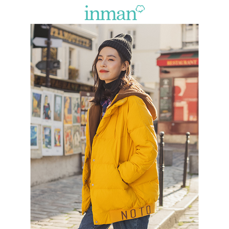 INMAN 2019 Winter New Arrival Fashion Personality Fake Two Pieces Hooded Contrast Color Warm Women Short   Down     Coat