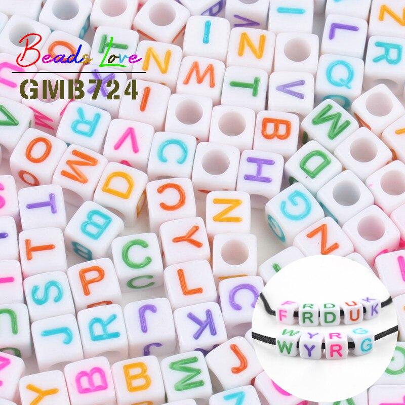 Toptan karışık küp mektubu boncuk 100 adet 6*6mm beyaz renkli alfabe akrilik boncuk bilezik kolye takı için DIY