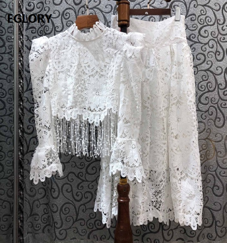 Tassel Skirt Suits 2020 Spring Autumn Sexy Party Club Suit Women Hollow Out Lace Crop Tops+Ankle Length White Lace Maxi Skirts