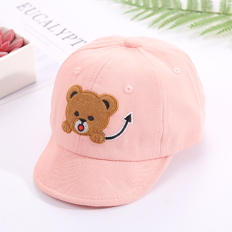 H2ccdcdbfee4c44c3a481bbb607a46feal - Baby Hat Cute Bear Embroidered Kids Girl Boy Caps Cotton Adjustable Newborn Baseball Cap Infant Toddler Beach Outdoor Sun Hat