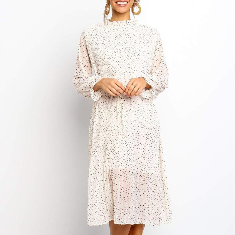 Echoine Women Floral lace chiffon midi dress casual elegant long sleeve sundress autumn winter female maxi dresses summer in Dresses from Women 39 s Clothing