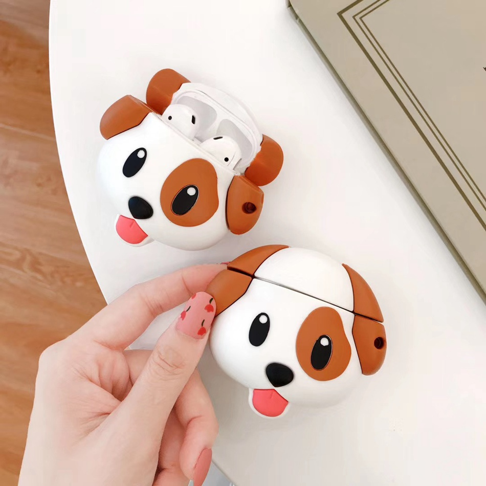 3D Silicone Bluetooth Wireless Earphone Case For AirPods 2 Case Cute Dog Cartoon Cover For Apple Air Pods Case Accessories Strap