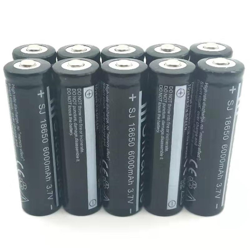 10PCS 18650 6000mAh 3.7vRechargeable Battery Lithium Li-ion Bateria For Flashlight