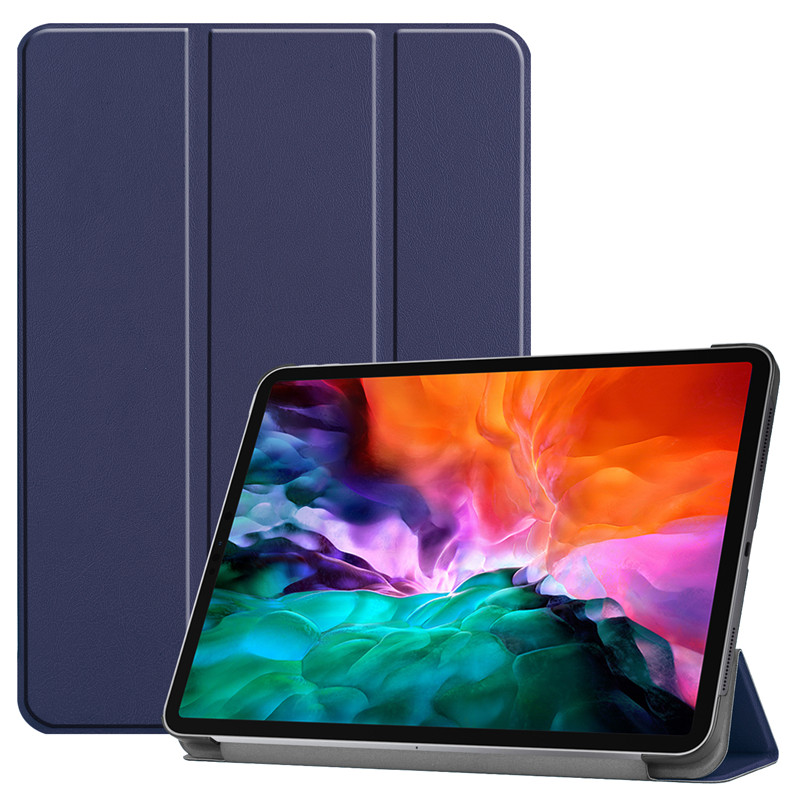 Dark Blue Other For iPad Pro 12 9 2021 Case PU Leather Folding Stand Hard PC Back Smart Cover