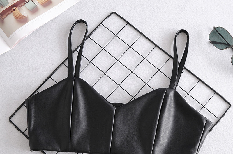 Toppies Black Faux Leather Cropped Tops Women Camisoles Sexy Sleeveless Cami Top
