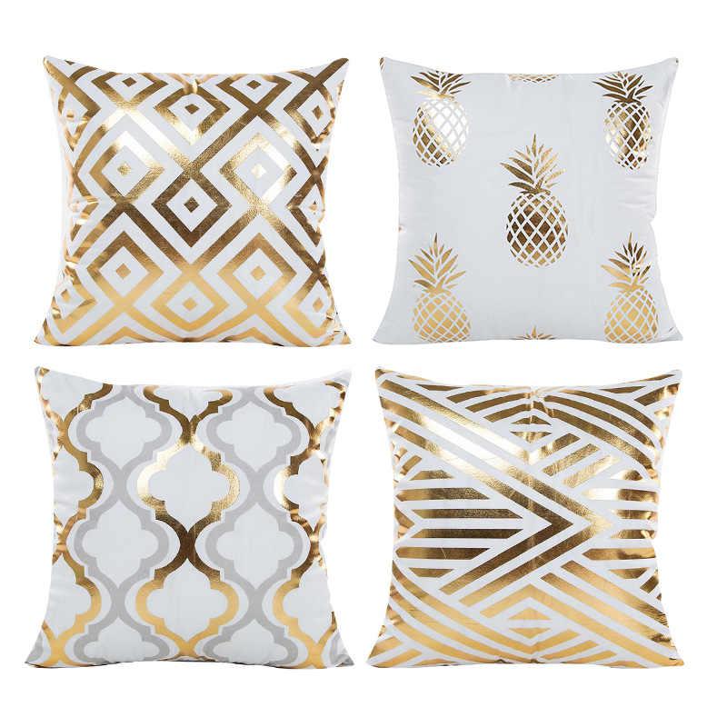 Junejour 4 Buah Sarung Bantal Geometris Dicetak Peach Suede Modern Pola Sederhana Pillowcasethrow Sarung Bantal Cover Dekoratif