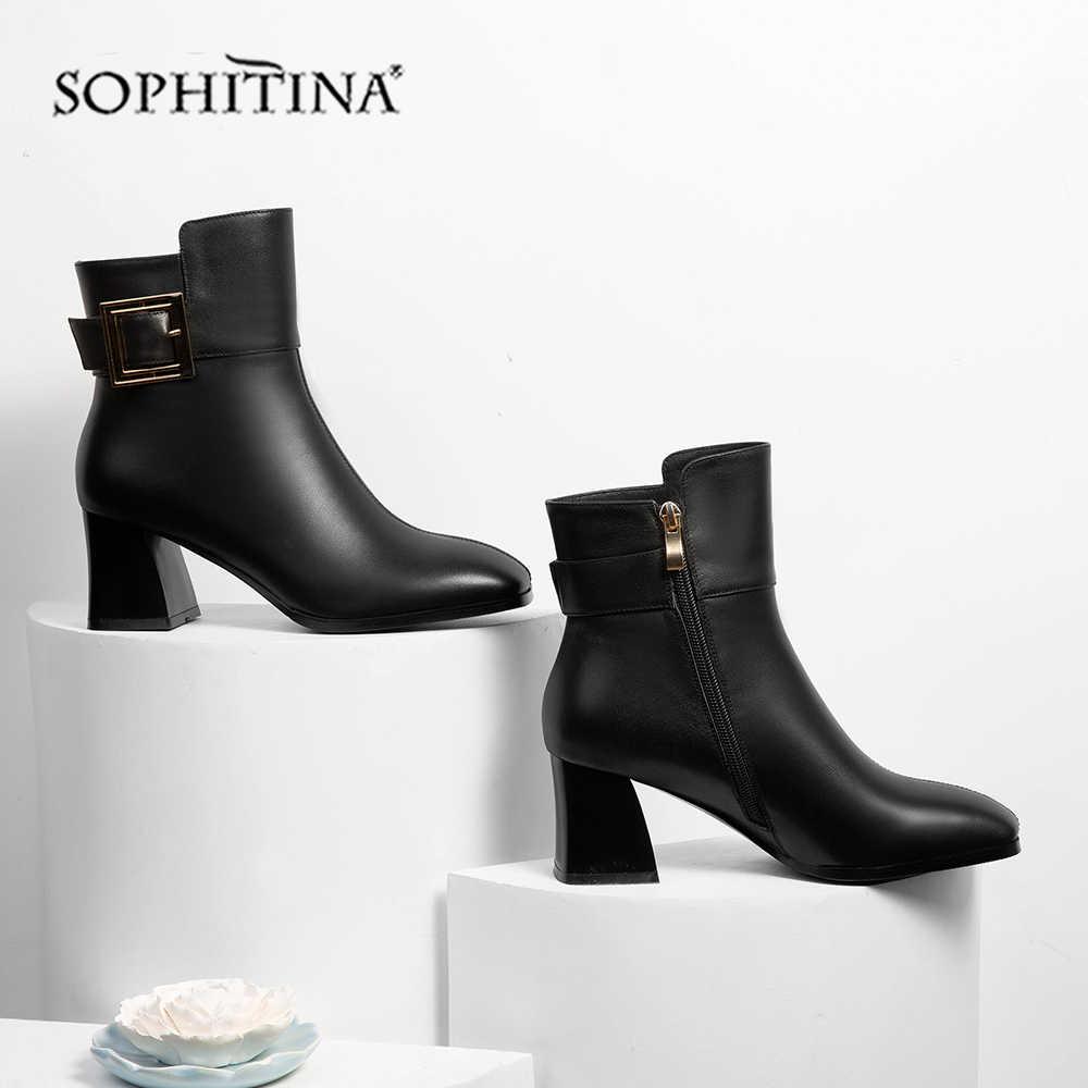 SOPHITINA hakiki deri kadın botları kış toka el yapımı katı kare topuk ayakkabı sivri burun yüksek topuk bayan botları MO351