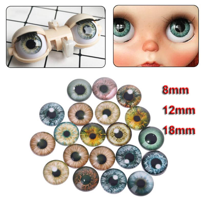 10Pair Glass Doll Eyes Animal DIY Crafts Eyeballs For Dinosaur Eye Accessories Jewelry Making Handmade 8mm/12mm/18mm