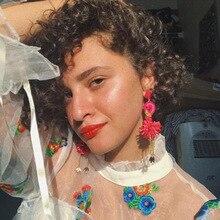 2019 Earings Pendientes Oorbellen Fashion Handmade Flamingo Earrings For Women Animal Hanging Tassel Flower Wedding Jewelry
