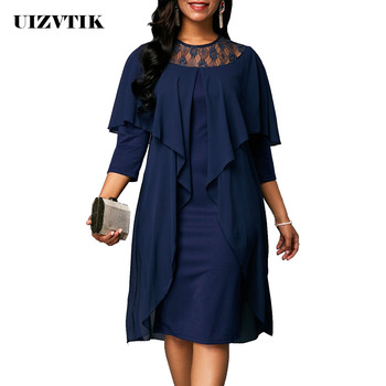 Lace Summer Autumn Dress Women 2019 Casual Plus Size Slim Patchwork Office Bodycon Dresses Vintage Elegant Sexy Party Dresses 1