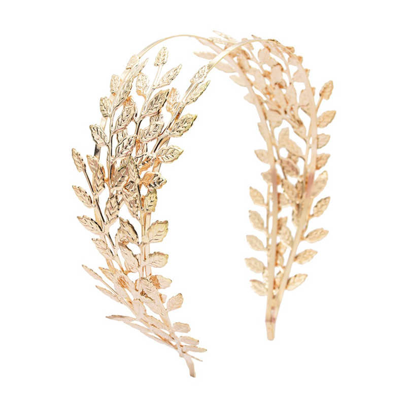Diadema de la diosa romana corona hoja de oro accesorios para el cabello de boda delicada Tiaras para mujer frente nupcial Alice Band Jewelry