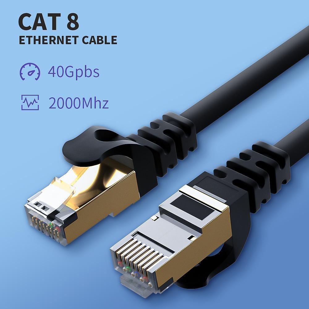 Высокоскоростной сетевой кабель Cat8, 40 Гбит/с, SSTP UTP, Ethernet Cat7 Lan кабель для маршрутизатора, ПК, Ps4, ТВ, ноутбука, шнур RJ45        АлиЭкспресс