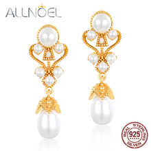 ALLNOEL 925 Sterling Silver Earrings for Women Handmade Pearls 5*6mm Real Golden Wedding Engagement Boutique Fashion Jewelry New
