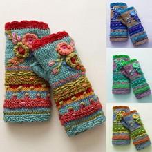 Damskie zimowe ciepłe rękawiczki dorywczo dzianinowa w kwiaty rękawiczki bez palców rękawiczki rękawiczki bez palców kaszmirowe rękawiczki tanie tanio CN (pochodzenie) Akrylowe Poliester Z wełny WOMEN