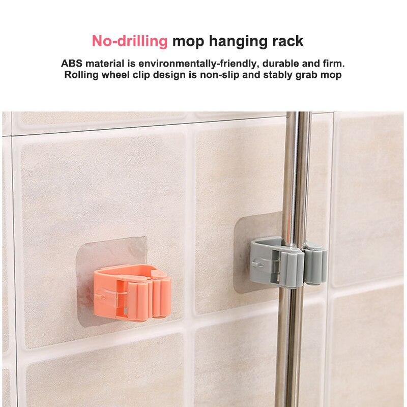 Mop Rack Wall Bathroom Broom Holder With Multipurpose And Used Behind Doors Kitchen Storage Tool 12
