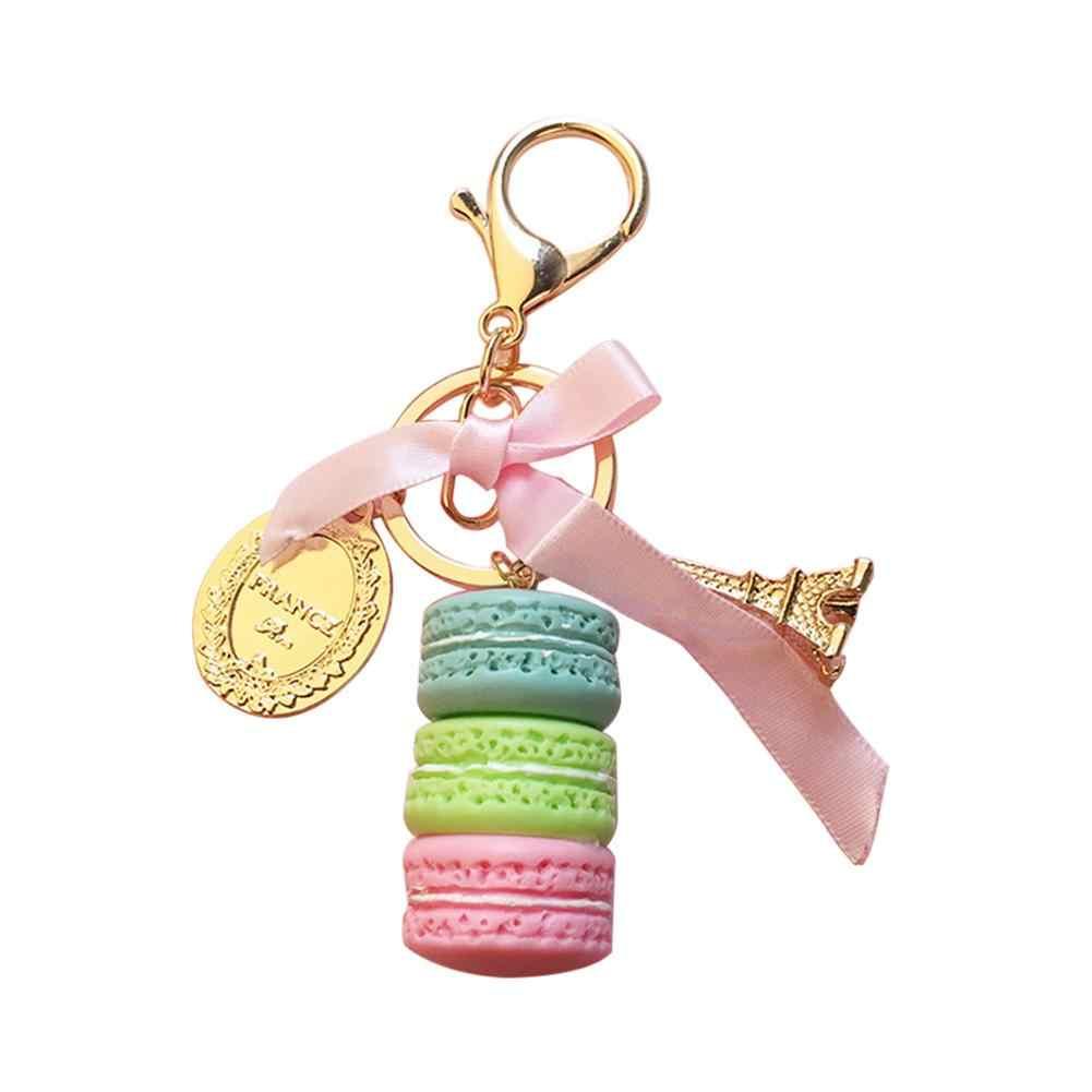 Llavero bonito con colgante de macarrón para coche, llavero de aleación con soporte para bolso, accesorio para bolso, colgante de oro, llavero a la moda para chicas, colgante para bolso