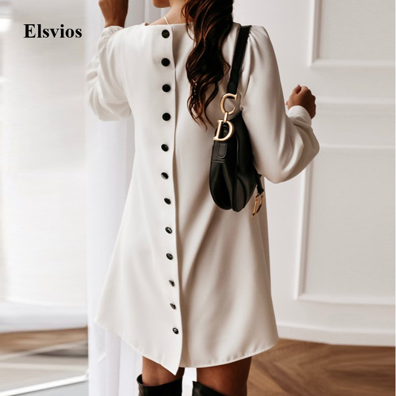 Elegant Women Metal Buttoned Mini Dress Casual Spring O Neck Party Dress Solid Autumn Female Long Sleeve A-Line Dresses Vestidos