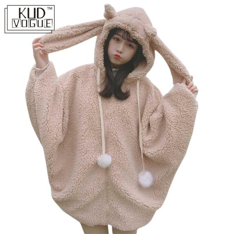 Harajuku Lolita Sweet Hooded Girls Coat Women Winter Warm Batwing Sleeve Hoodie Jacket Kawaii Costume With Bunny Ears Hoodies