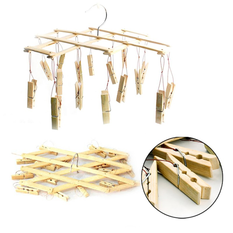 Windproof Firm Socks Clothes Drying Clips Racks Multi-function Bamboo Material Foldable Clothes Drying Clips