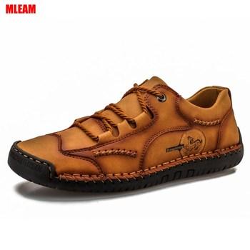 Zapatos informales para hombre, zapatos planos de cuero, suaves, cómodos, ligeros, antideslizantes,...