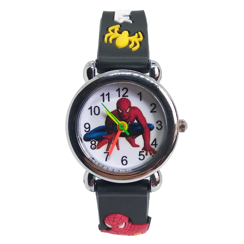 Spiderman Watch Children Classic Men Watch Genuine Kids Watches Boys Fashion Quartz Wristwatches Soft Silicone Students Clock