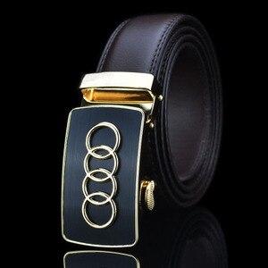 Image 2 - العلامة التجارية الشهيرة جديد مصمم الذكور التلقائي مشبك جلد البقر الرجال حزام أحزمة فاخرة للرجال شعار سيارة جلدية beltFull عادية