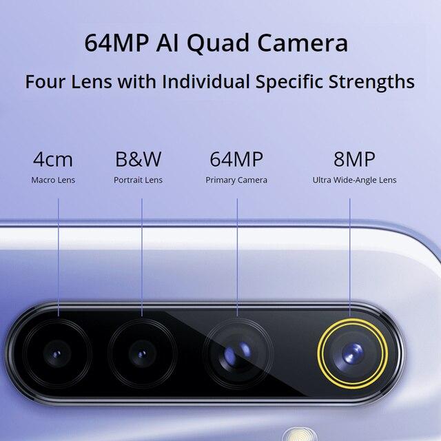 Realme 6 RMX2001 6.5 4/8GB 128GB 90Hz écran Helio G90T 30W Charge Flash 4300mAh batterie 64MP appareil photo 4G NFC téléphone portable