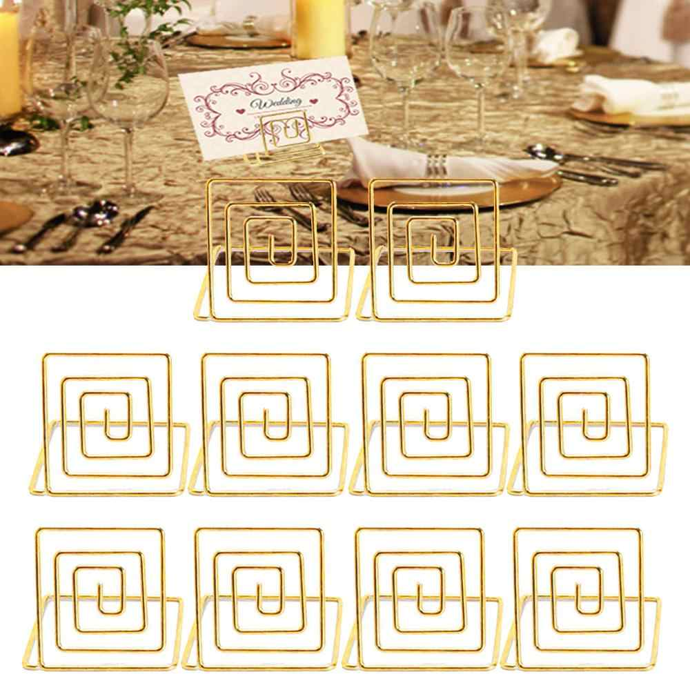 10pcs Rose Gold Table Number Name Place Cards Holders Stands for Wedding Party Banquet Table Decorations Supplies Seat frame @10
