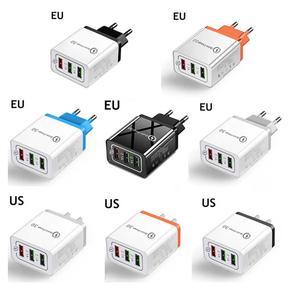 良い 3 ポート高速 usb 充電ケーブル/電話急速充電器 3.0 5 v/3A eu/米国のプラグイン壁の充電器サムスン、アップルの iphone xiaomi huawei 社