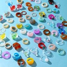 VKME – bagues géométriques carrées en résine acrylique pour femmes et filles, ensemble de bagues transparentes colorées à motif de marbre irrégulier, bijoux