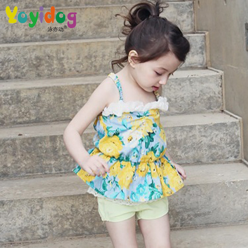 2018 Korean-style New Style Children Two-piece Swimsuits Girls Baby Sweet Cute Big Flower Small Camisole Swimwear 1862