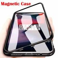 Caixa de vidro de adsorção magnética de metal para oneplus 7 t pro 6 6t 5t um mais caso do telefone ímã capa protetora coque