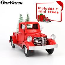 Navidad rojo Metal camión regalos de Navidad para niños Navidad Mesa decoración mesa decoración superior Vintage camión modelo con ruedas móviles