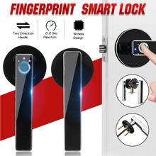 цена на Stainless steel Biometric Fingerprint Handle Lock Smart Keyless Electronic Indoor Locks for Bedroom Door