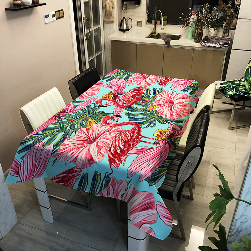 Decorative Flamingo Linen Thick Tablecloth  Pink Waterproof Oilproof  Rectangular Wedding Dining Table Cover Tea Table Cloth