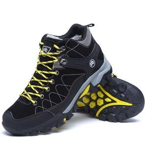 Image 2 - Junjarm novos homens botas de inverno com pele 2019 quente botas de neve homens botas de inverno sapatos de trabalho calçados masculinos moda borracha tornozelo sapatos