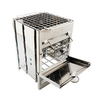 Outdoor Wood Stove Mini Square Barbecue Wire Portable Firewood Furnace Stainless Steel Folding Charcoal Stove BBQ Mini Furnace