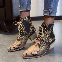 цены Ankle Boots Women Embroidery Mid Boots Thick heel Shoes Woman Baroque Vintage Patent Ankle Boots Female Winter Boots Women D25