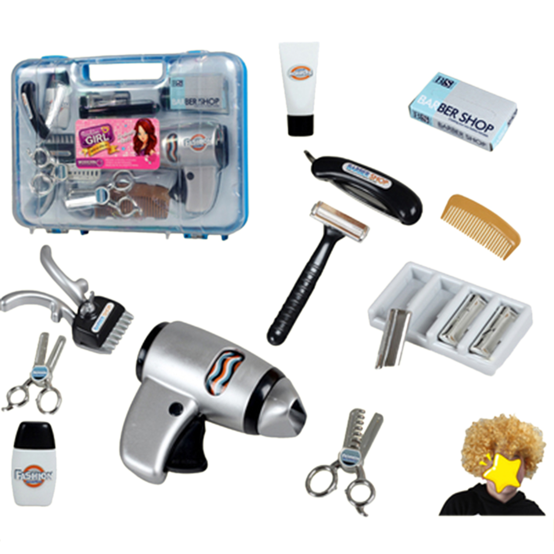 16Pcs Children Haircut Tool Toy Hairdressing Pretend Play Set With Wig Role Play Classic Toys For Children- Pink Blue Box Random